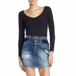 Good American Mini Jean Skirt with Mesh Detailing